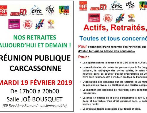 Nos retraites : aujourd'hui et demain : réunion publique mardi 19 février à Carcassonne